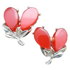 1950s Moonglow Lucite Clip Earrings Autumn Berry