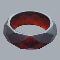 Wide Lucite Bangle Bracelet Faceted Translucent Cranberry