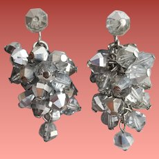 Gray Faceted Crystal Cascade Earrings 1960s