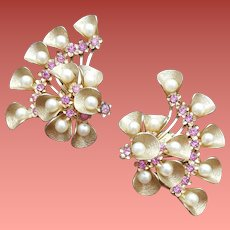 1950s Rhinestone Earrings Flashy Fans