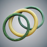 3 Marbled Bakelite Bangles 2 Green 1 Yellow