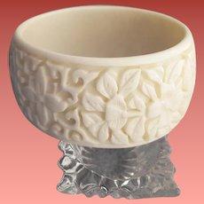 Extra Wide Bangle Bracelet Faux Carved Ivory
