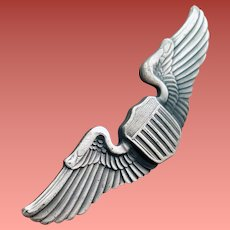 Military USAF Pilot Wings with Shield Pin Silver Tone
