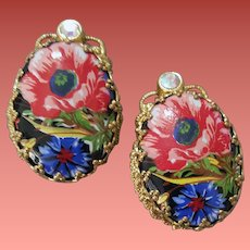 Clip on Earrings Floral Transfer 1960s W. Germany