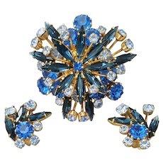 Superb Blue Rhinestone Parure Brooch Earrings Austria