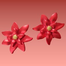 Christmas Red Poinsettia Earrings Clip On