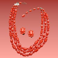 Faceted Bead Necklace and Earrings Christmas Red