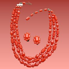 Faceted Bead Necklace and Earrings Lipstick Red