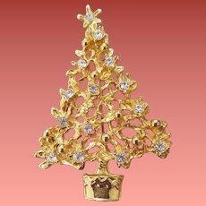 Christmas Tree Brooch Molten Gold Tone with Rhinestones