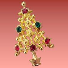 Unusual Rhinestone Christmas Tree Brooch Fine Metal Work