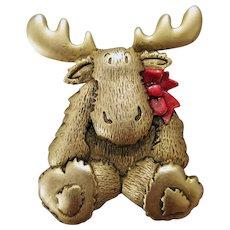 Baby Christmas Moose Brooch Darling Holiday Pin