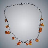 Amber Beads on Sterling Silver Necklace