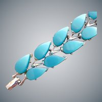 Moonglow Turquoise Lucite Bracelet Small Mid Century