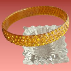 1920s Celluloid Bangle Bracelet Gold Rhinestones