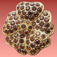 Topaz Rhinestone Brooch by Monet Mint Condition