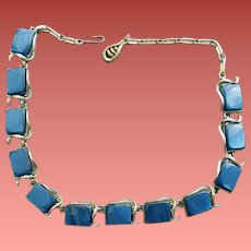Coro Blue Lucite Necklace Moonglow Discs Mid Century