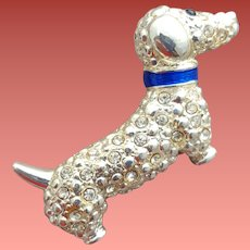 1960s Dachshund Scatter Pin with Rhinestones