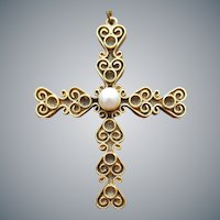 Tortolani Crucifix Cross Necklace Faux Pearl