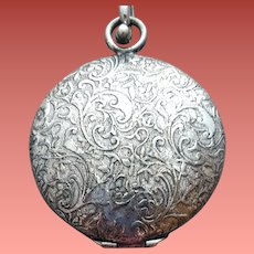 Faux Pocket Watch Locket Embossed Heavy Chain