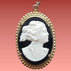 Vintage Cameo Necklace Molded Black and White Plastic