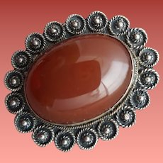 Antique Carnelian and Sterling Silver Brooch 1910