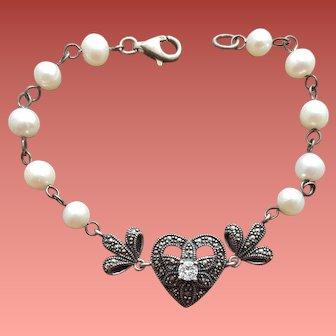 Vintage Pearl Marcasite Sterling Bracelet
