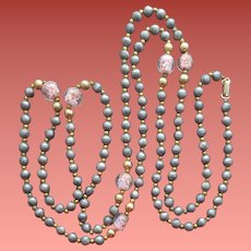 Venetian Art Glass Bead and Gray Bead Necklace Coro