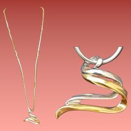 14k White and Yellow Gold Pendant 17.8 Grams