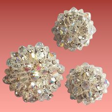 Brooch and Earrings Crystals with Rhinestones 1960s