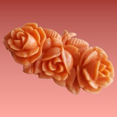 1940s Coral Celluloid Rose Pin / Brooch Japan