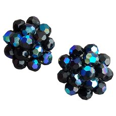 Dramatic 1960s Clip Earrings Iridescent Black Beads