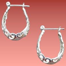 Sterling Silver Huggie Hoop Earrings Lacy Open Work