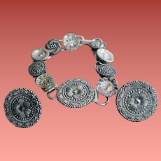 Button Bracelet Matching Earrings All Glass