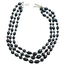 Triple Strand Necklace Faceted Black Lucite Beads