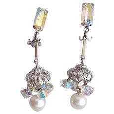 Chandelier Earrings Rhinestones Crystals Faux Pearls