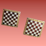 1960s Chess Boards Cufflinks Hickok Vintage