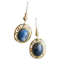 14K Yellow Gold and Lapis Lazuli Earrings