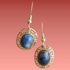 14K Yellow Gold and Lapis Lazuli Earrings