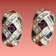 Rhinestone Clip Earrings Jewel Tones 1980s