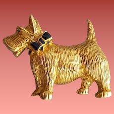 Scottish Terrier Brooch Rhinestone Eye CaroLee Scotty