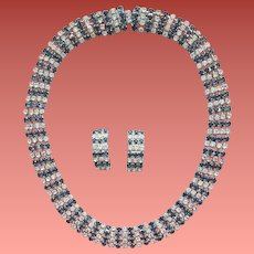 Kramer Rhinestone Necklace and Earrings Demi Parure