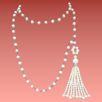 Magnificent Real Pearl Necklace with Pearl Tassel