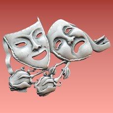 Large Thespian Comedy Tragedy Masks Brooch J.J.