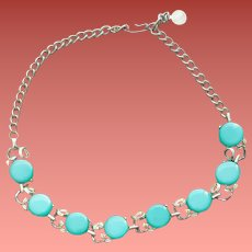 1960s Necklace Turquoise Lucite Moonglow Discs