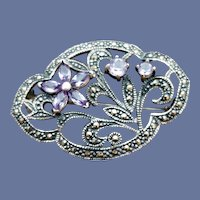 Sterling Amethyst Flower Faceted Marcasite Brooch