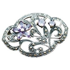 Sterling Amethyst Flower Faceted Marcasite Brooch