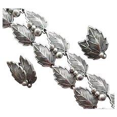 1950s Bracelet with Earrings Signed Bartek