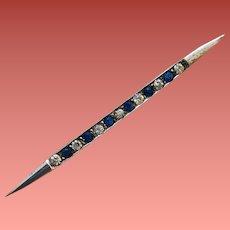 Art Deco Sterling Brooch Blue Crystal Rhinestones