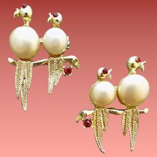 1950s Scatter Pins Love Birds with Faux Pearls Rhinestones