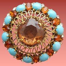Huge Schreiner Domed Rhinestone Brooch Unsigned Beauty